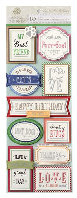 Anna Griffin Best In Show 3D Titiles Stickers