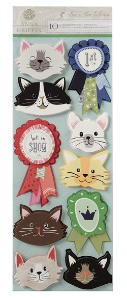 Anna Griffin Best In Show Cat Art 3D Stickers