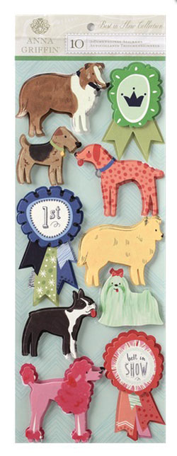 Anna Griffin Best In Show Dog Art 3D Stickers