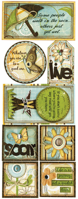 Bo Bunny Flutter Butter Life Is a Journey Cardstock Sticker