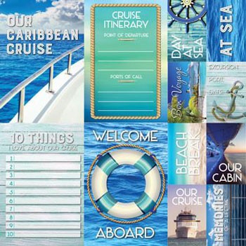 Reminisce Caribbean Cruise 12x12 Poster Sticker