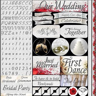 Reminisce Wedding Day 12x12 Alpha Variety Sticker